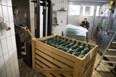 abgefüllte Weinflaschen werden in den Weinkeller gebracht