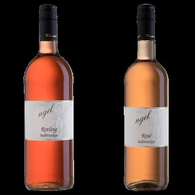 Zwei Rose-Flaschen
